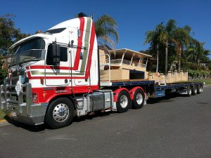 Semi truck with drop deck ready for another job on the Gold Coast