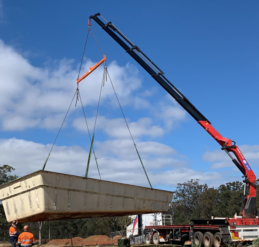 pool installation with crane truck