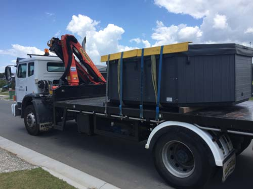CRANE TRUCK SPA TRANSPORT AND INSTALL
