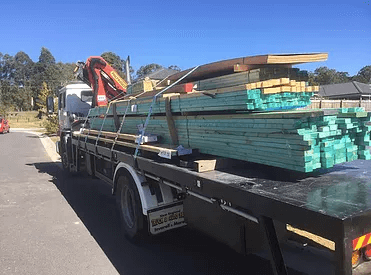 House frame delivery with our crane trucks for hire in Coomera, Gold Coast