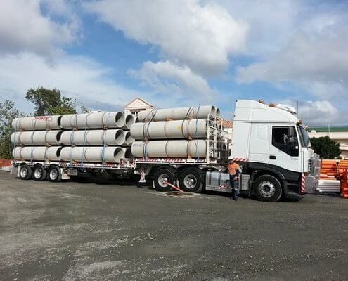 Semi truck full load of concrete pipes delivery in Gold Coast and Brisbane