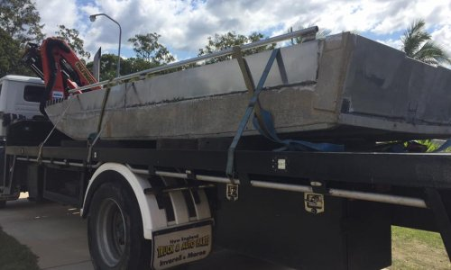 Transporting boat with our crane truck in Helensvale, Gold Coast