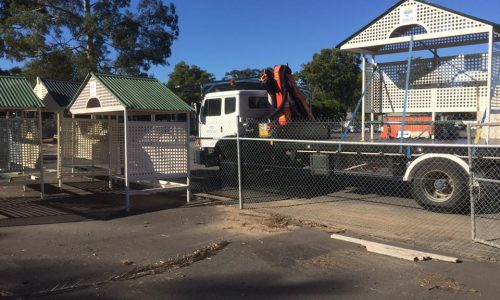 Bus shelter delivery with our crane trucks in Logan, Brisbane