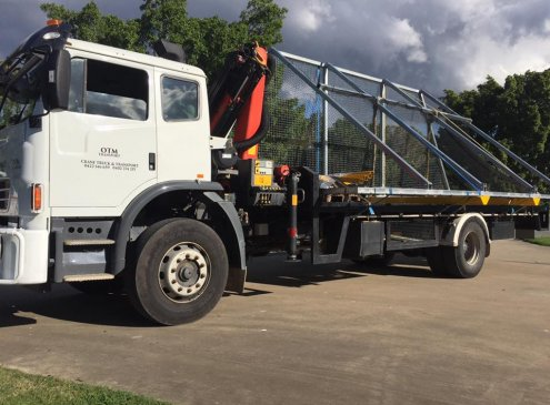 Delivery of litter boxes for the council in Yatala, Gold Coast with our 8 tonne crane truck