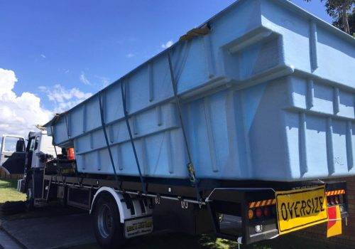 pool delivery with crane truck to karragarra island1