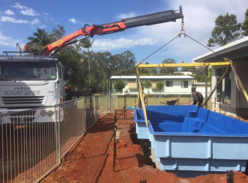 Pool installation with an 8 tonne crane truck in Springwood, Brisbane