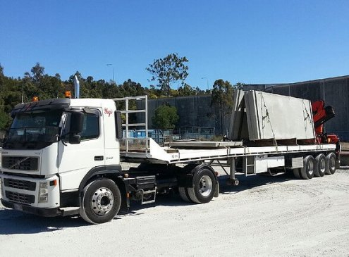Concrete slab delivery in Yatala, Gold Coast with our semi crane truck
