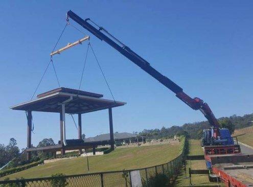 Semi Crane Truck Installing Park Table - Gold Coast And Brisbane