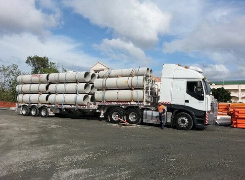 Full load of concrete pipes on our semi truck in Gailes, Brisbane